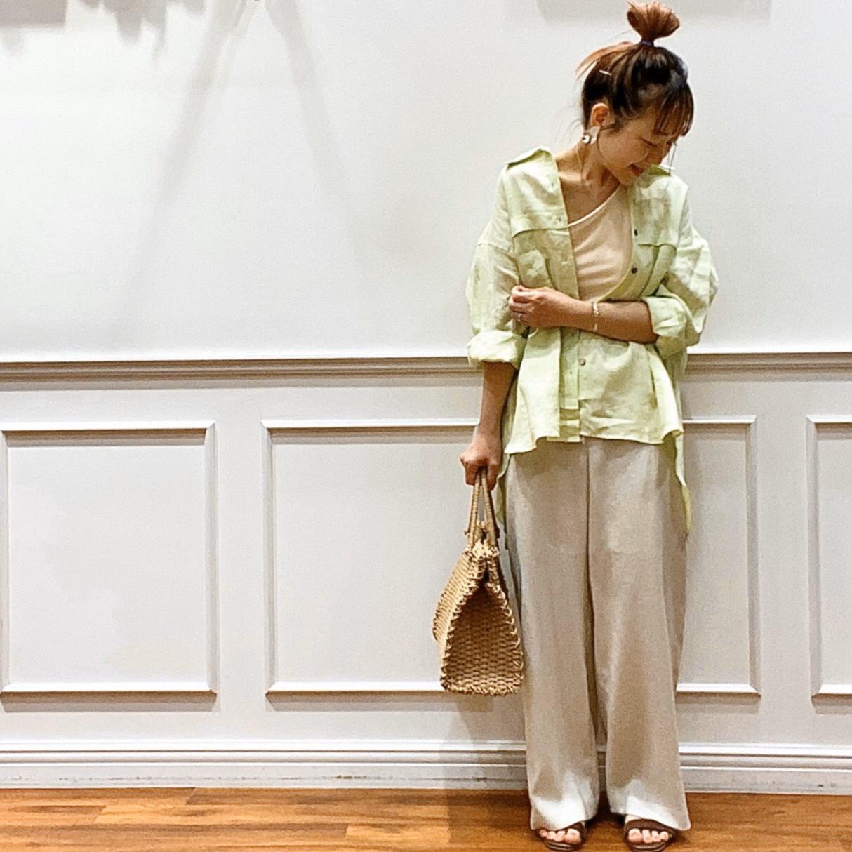 雨避けジャケット風BIGシャツ&麻調紐付きワイドストレートパンツ・川越店